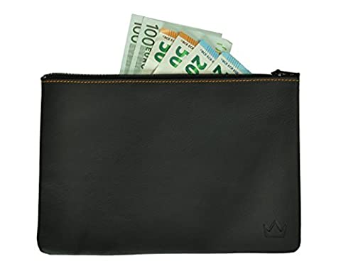 Lederprinz®   Sac Argent noir   cuir véritable portefeuille Madame