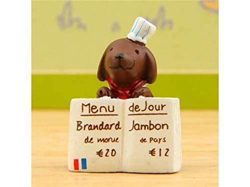 Guai Home Ornements Maison Décoration De Jardin Miniature Chef Chiot avec Menu Micro Paysage (Brun + Blanc)