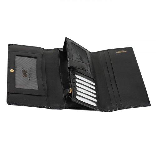 Braun Büffel Glanzkroko Porte-monnaie cuir 17 cm rubinrot schwarz