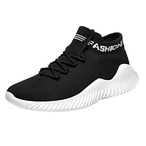 Herren Sportschuhe Socken Schuhe Sommer Freizeitschuhe Fly Knit Atmungsaktive Laufschuhe Schnürschuhe Soft Plateauschuhe Turnschuhe Casual Sneaker, Schwarz
