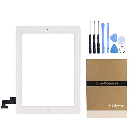 Hedywei per iPad 2Touch Screen digitalizzatore Pannello Frontale di Riparazione con Pulsante Home, Strumenti e Adesivo Bianco
