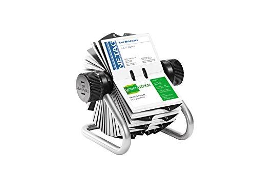 DURABLE fichier pour carte de visite VISIFI, argent pour l'archivage de cartes de visite, avec cadre en metal tubulaire solide, 25 pieces de A a Z index en noir,incl. 200pochettes pour cartes de visite utilisableas recto/verso en format 104 x 72 mm, ...