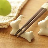 TOPmountain Japanese Ceramic Ware Rabbit Chopsticks Stand Rest Rack Porcelain Spoon Fork Home Decor New