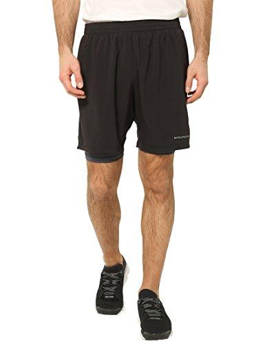 Ultrasport Endurace Weymouth Pantalones Cortos 2 en 1, Hombre, Negro, S