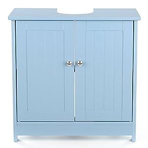 Ritioner IKAYAA – Armario bajo Lavabo de Madera, Gran Espacio de Almacenamiento, Azul para Debajo del Fregadero, Mueble de baño, 60 x 29 x 60 cm