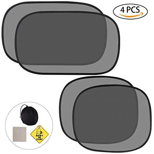 Sonnenschutz Auto, Auto Sonnenschutz Baby mit UV Schutz Sonnenblenden für Kinder Sonnenschutz für Seitenscheibe Sonnenschutz für Heckscheibe Schwarz 4 Stück (51*31cm+44*38cm)