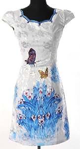 Shanghai Tone® Robe Chinoise Asiatique de Femmes Cheongsam Fleurs & Papillons Qipao Chipao Mandarin en Coton Polyester Col Double Tenue de Soirée Blanc Tailles Disponibles: 32-42