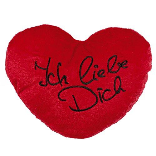 Preisvergleich Produktbild Plüschkissen in Herz-Form ICH LIEBE DICH 34cm rot