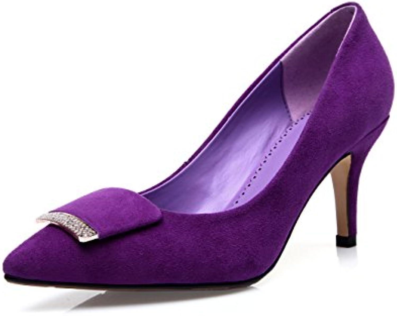 Otoño Ante De Oveja Mate Tacones Altos Zapatos Sueltos Moda Zapatos De Cuero