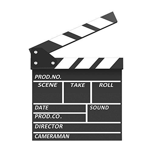 Neewer Claqueta Profesional de Película de Madera, 7,9 x 7,9 Pulgadas / 20 x 20 Centímetros Tablilla Negra y Blanca para Escena de Película Producción Decoración Prop