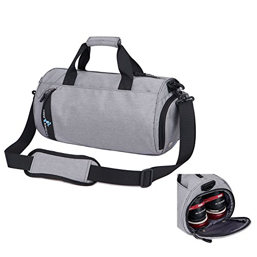 Asiki Waterproof Nylon Gym Bag Round Sports Duffel Bag with Shoe Compartment Travel Sports Bag (Grey(Large))