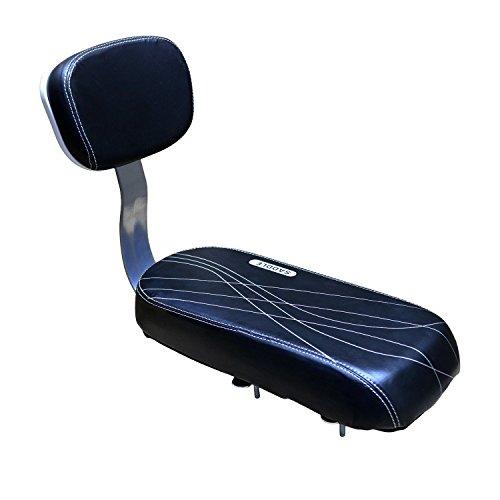 AUVSTAR Cojín para asiento trasero de bicicleta, asiento trasero de bicicleta de montaña, asiento trasero de bicicleta de montaña, asiento trasero de vehículo eléctrico, asiento trasero para niños, cojín para asiento trasero, incluye cojín y reposapiés, TZ-118, Black seat2