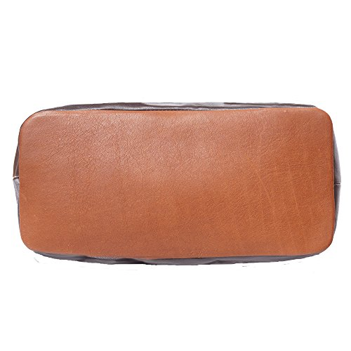 Sac à main porté épaule avec double lanière en cuir 6140 Marron-marron foncé