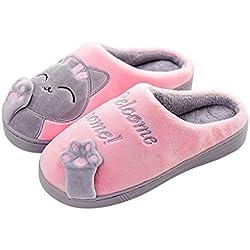 A.O.R Zapatillas de estar por Casa Mujer Invierno Gatos Interior Cálido Pantuflas de Algodón Suave Peluche Antideslizante Slippers Hombre