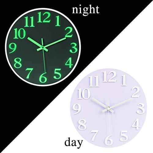 YAKOK Wanduhr, 30CM Leuchtend Wanduhr Ohne Tickgeräusche Wanduhr Beleuchtet Lautlos für Wohnzimmer, Küche, Schlafzimmer, Büro (Weiss)