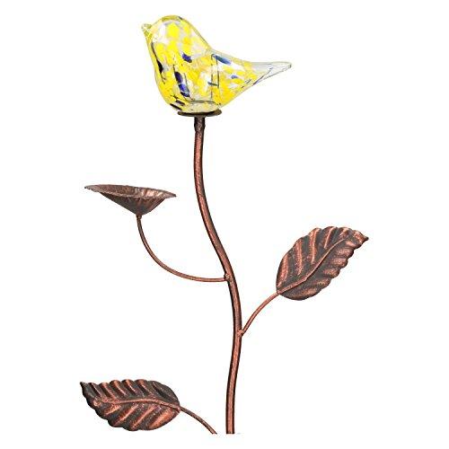 Gartenstecker Vogel Gelb mit Vogeltränke Vogelstecker Glaskunst-Stecker Glas Braun