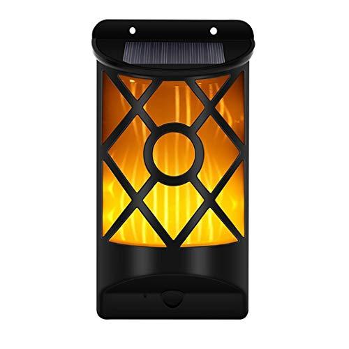 LHFJ Solarleuchten im Freien, solarbetriebene Wandleuchten, Wasserdichte flackernde Flammenlampen, Auto On/Off-Sicherheitslicht für Gartenterrasse