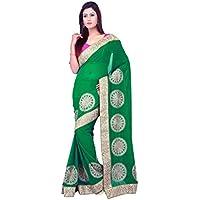 indiano Tradizionale Sari da sposa Bollywood Style verde crespo Bemberg Donne Saree con scucito Camicetta