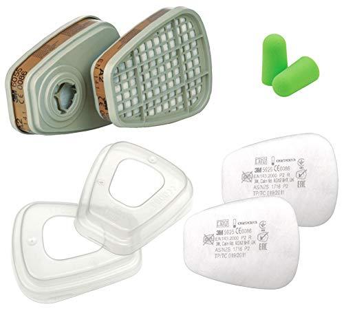 3M 6055 Filter A2 gegen Organische Dämpfe (1 Paar / 2 Stück) + 3M 501 Filterdeckel + 3M Partikelfilter 5925 P2 R (2 Stück / 1 Paar) + Gehörschutzstöpsel von SmartProduct