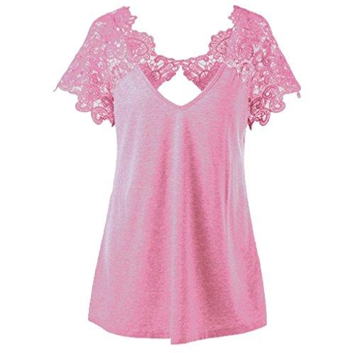 SEWORLD T-Shirt Damen Neu Mode Frauen V-Ausschnitt Plus Größe Kurzarm Spitze Trim Cutwork T-Shirt Tops Oberteile (Rosa, L5) (Neu Mode In)