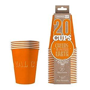 Original Cup - 20 x Vasos Américanos Papels Beer Pong 53cl - Juego para Beber - Naranja