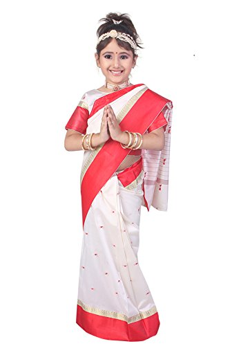Pratima Girl's Party Wear Cream with Red border silk Ready made Pre-stitched...