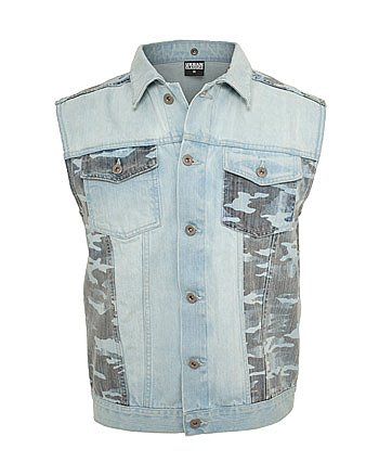 Preisvergleich Produktbild Urban Classics Herren Outdoor Weste Hooded Camo Denim Vest, Blau (Lightblue 00344), Medium