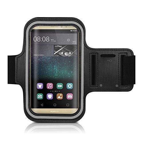 Galleria fotografica kwmobile fascia da braccio sportiva per Huawei Mate S - jogging corsa borsa da sport fascia fitness con scomparto per chiavi nella fascia da braccio in nero