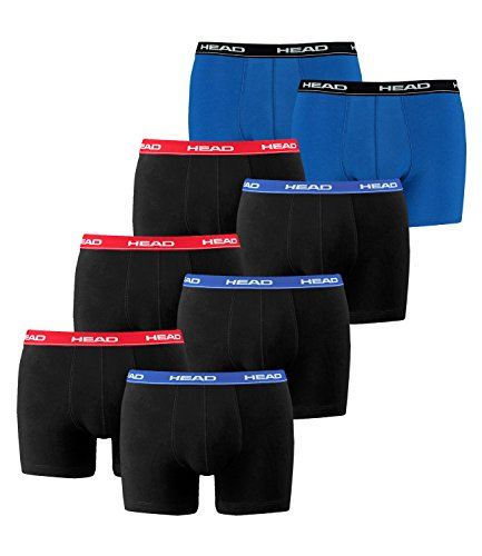 Head Boxer Herren. 8er Pack Retroshorts Men im Farbmix 3x Red/Blue/Black + 1x Blue