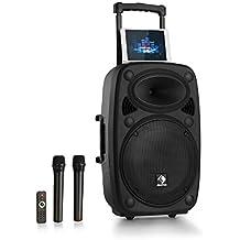"""auna Streetstar 12 Equipo de PA móvil • Tamaño de 12"""" y 1000W de potencia máxima • Bluetooth • Puerto USB y SD para MP3 • Incluye 2 micrófonos inalambricos • Fácil de transportar gracias a su batería • Para públicos de hasta 100 personas"""