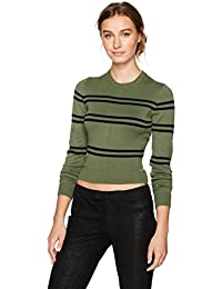 GUESS Women's Long Sleeve Havana Striped Crop Sweater