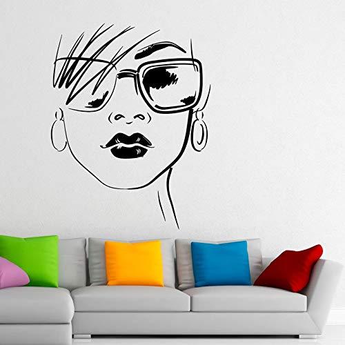 Mode Design Brille Decals Home Decoration Schöne Sexy Girl Vinyl Wandaufkleber Wohnzimmer Schlafzimmer Kunst Wandbilder 42X55CM