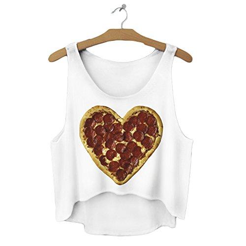 Filles veste pour femme Haut T-shirt d'été sans manches pour femme Casual pour Femme Imprimé Coussin UK 6/8/10 Blanc - Pizza Heart