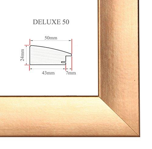 Bilderrahmen DELUXE50 42x59.4 oder 59.4x42 cm (DIN A2-Format) in KUPFER mit AntiReflex Kunstglas und MDF Rückwand