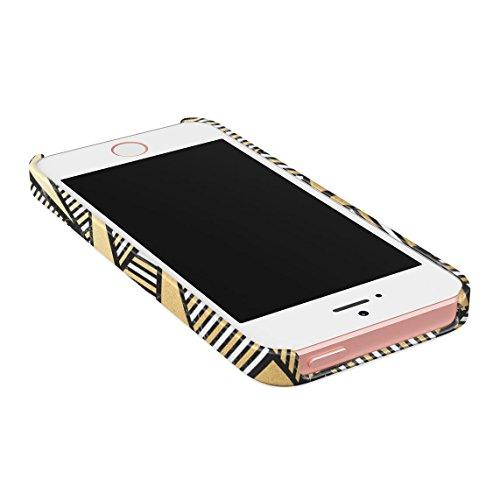 White Marble With Pink Stripes Dünne Rückschale aus Hartplastik für iPhone 5 & iPhone 5s & iPhone SE Handy Hülle Schutzhülle Slim Fit Case cover Golden Triangles