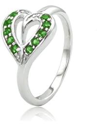 Argent Fin feuille de coeur de l'anneau w / couleur émeraude zircon cubique