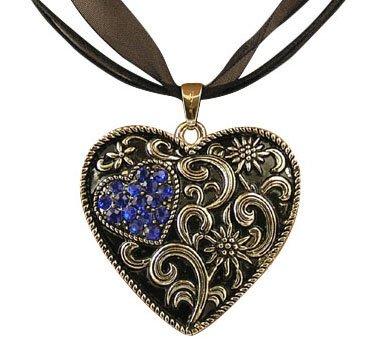 Trachtenschmuck Dirndl Kette Kristall Herz – geschwärzt – Edelweiss – Sapphire blau...