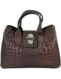 05b7780df52ab Belli top klassische Echt Leder Henkeltasche Handtasche braun kroko -  36x25x18 cm…