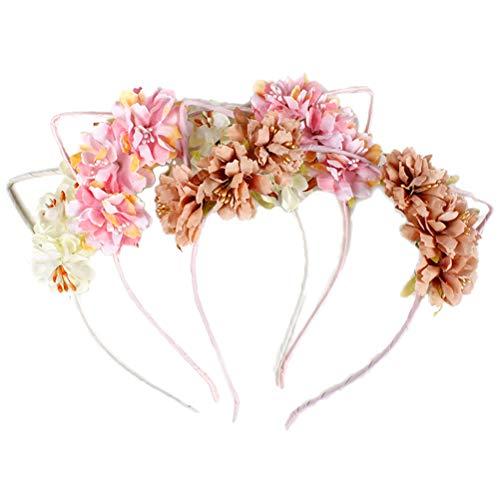 Toyvian 3pcs Diademas de Gato con Flores Diadema de Flores para Niñas Mujer Disfraz de Gato para Niñas para Fiesta (Rosa Brillante, Rosa Oscuro, Beige)