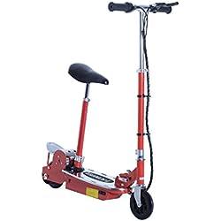 HOMCOM Patinete Eléctrico Scooter Plegable con Manillar y Asiento Ajustable Tipo Monopatín 120W Carga 50kg(Rojo)