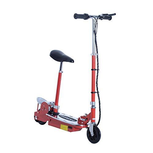 HOMCOM Patinete Eléctrico Scooter Plegable con Manillar y Asiento Ajustable tipo Monopatín con Freno y Caballete 120W Carga 50kg, 81.5x37x96cm, Color Rojo