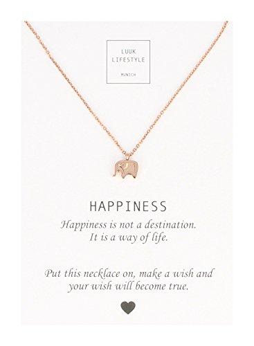 LUUK LIFESTYLE Damen Schmuck, Geschenkkarte, Halskette mit Elefanten Anhänger und Happiness Spruchkarte, Glücksbringer, rosé