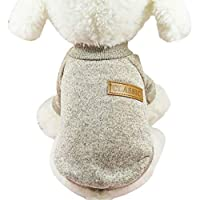 Kineca Small Dogs Puppy Cat Clothing Chihuahua Winter Warm Knitted Clothes Soft Knitting Pet Vest Sweater cream-coloured S