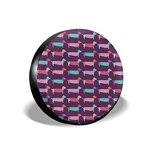 New Hats Sixties Inspired Color Palette with Abstract Pet Puppies Pattern Funky Animals Tire Cover Waterproof for Trailer RV SUV Truck Camper Travel Trailer Accessories 14 Inch Funky Animal