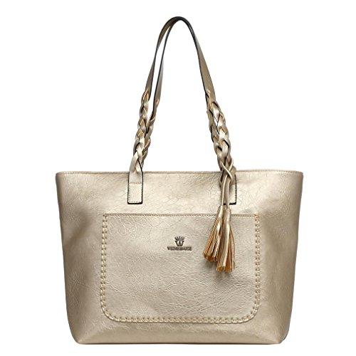 ac2ad5122f0bd Henkeltaschen damen Kolylong® Vintage Quasten Handtasche für Frauen Mädchen  Elegant Umhängetasche PU-Leder Groß