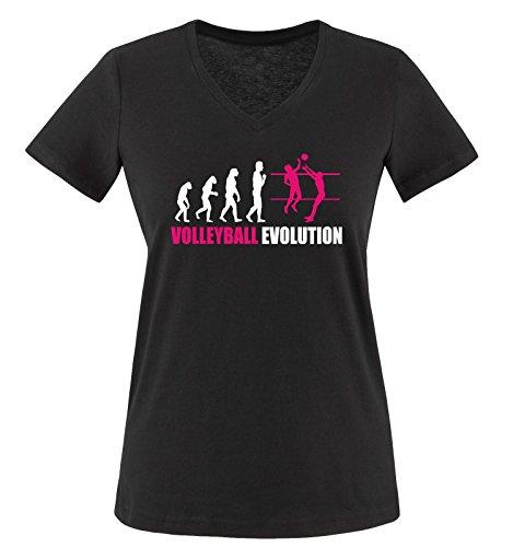 Comedy Shirts - Volleyball Evolution - Damen V-Neck T-Shirt - Schwarz/Weiss-Pink Gr. S