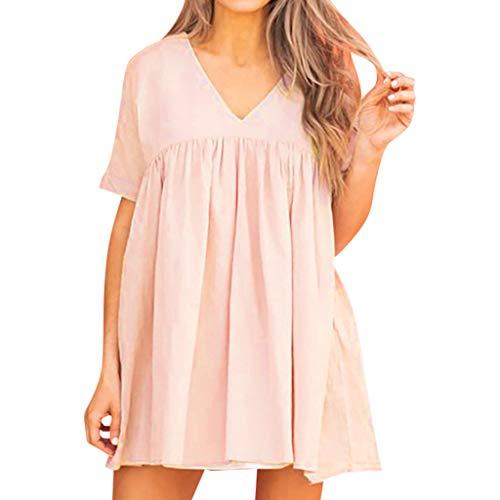 Kleid aus Baumwolle und Leinen für Damen,Zolimx Frauen V-Ausschnitt Lose Plain Kurzarm Kleid Casual Swing Party Kleid 4 Womens Raglan Hoodie