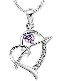 Onefeart Blanco Oro Plateado Colgante Collar Mujeres Chicas Púrpura Cristal Flechas a Través de Corazón 45CMx34X20MM