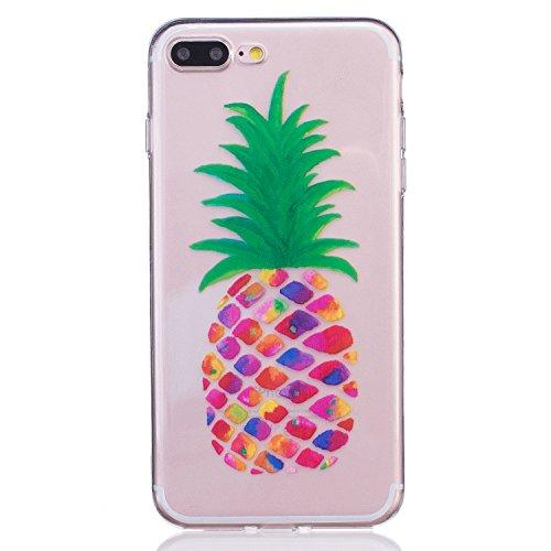 LuckyW TPU Handyhülle für Apple iPhone 7 7s(4,7 zoll) Soft Silikon Tasche Transparent Schale Clear Klar Hanytasche Durchsichtig Rückschale Ultra Slim Thin Dünne Schutzhülle Weiche Flexibel Kratzfeste  Ananas