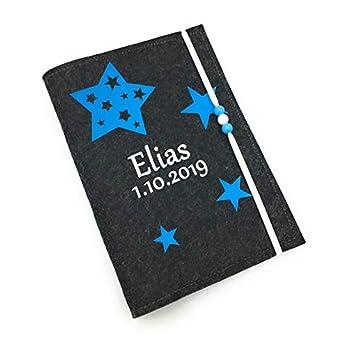 U-Heft Hülle mit Personalisiert mit Sterne Blau